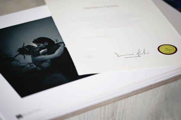 Certificazione di autenticità dell'album di matrimonio